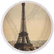 The Eiffel Tower In Paris France Round Beach Towel