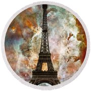 The Eiffel Tower - Paris France Art By Sharon Cummings Round Beach Towel