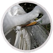 The Elegant Egret Round Beach Towel by Lydia Holly