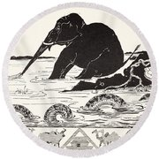 The Elephant's Child Having His Nose Pulled By The Crocodile Round Beach Towel