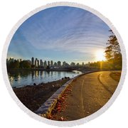 Round Beach Towel featuring the photograph The Emerald City by Eti Reid
