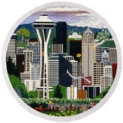 The Emerald City Seattle Round Beach Towel