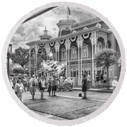 Round Beach Towel featuring the photograph The Emporium by Howard Salmon