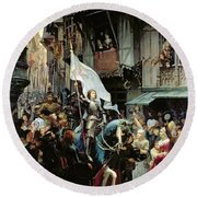 The Entrance Of Joan Of Arc Into Orleans Round Beach Towel