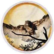 Round Beach Towel featuring the photograph The Eurasian Eagle Owl And The Moon by Kathy Baccari