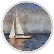 Round Beach Towel featuring the painting The Evening Peace  by Dragica  Micki Fortuna