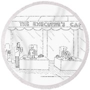 The Executive's Cafe Round Beach Towel