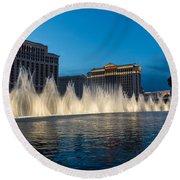 The Fabulous Fountains At Bellagio - Las Vegas Round Beach Towel by Georgia Mizuleva