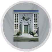 The Facade Of Tony Duquette's House Round Beach Towel