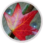 The Face Of Autumn Round Beach Towel by Leanne Seymour