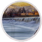 The Falls Of White River Round Beach Towel