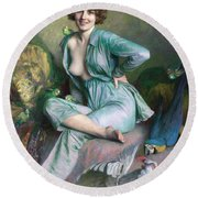 Round Beach Towel featuring the painting The Familiar Birds by Emile Friant