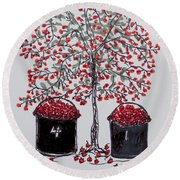 Round Beach Towel featuring the drawing The Famous Door County Cherry Tree by AndyJack Andropolis