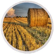 The Farm And The Face In The Cloud Round Beach Towel