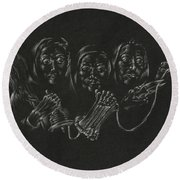 The Fates Round Beach Towel by Michele Myers