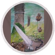 Round Beach Towel featuring the painting The Feather And The Word La Pluma Y La Palabra by Lazaro Hurtado