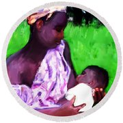 Round Beach Towel featuring the painting The Feeding 2 by Vannetta Ferguson