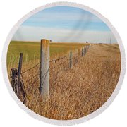The Fence Row Round Beach Towel by Mary Carol Story