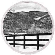 The Fenceline B W Round Beach Towel