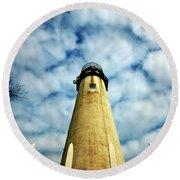 The Fenwick Light And A Mackerel Sky Round Beach Towel