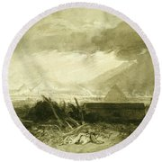 The Fifth Plague Of Egypt, 1806-10 Pen And Ink And Wash Round Beach Towel
