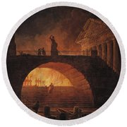 The Fire Of Rome Round Beach Towel