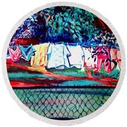 The First Clothing Line  Round Beach Towel by Ecinja