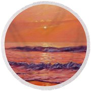 The First Day-sunrise On The Beach Round Beach Towel