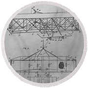 The First Flying Machine Round Beach Towel