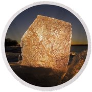 Round Beach Towel featuring the photograph The First Ice ... by Juergen Weiss