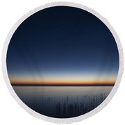 The First Light Of Dawn Round Beach Towel by Scott Norris