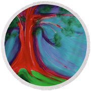 Round Beach Towel featuring the painting The First Tree By Jrr by First Star Art