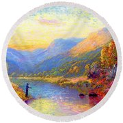 Round Beach Towel featuring the painting Fishing And Dreaming by Jane Small