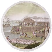 The Fishing Industry In Newfoundland Round Beach Towel