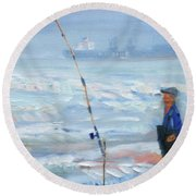 The Fishing Man Round Beach Towel