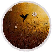 The Flight Of A Hummingbird Round Beach Towel