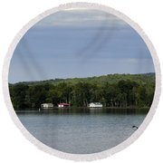 The Flight Of The Great Blue Heron Round Beach Towel