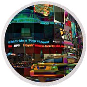 The Fluidity Of Light - Times Square Round Beach Towel