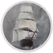 Round Beach Towel featuring the painting The Flying Dutchman by Virginia Coyle