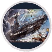 The Flying Submarine Round Beach Towel by Reynold Jay