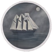 Round Beach Towel featuring the painting The Fog by Virginia Coyle