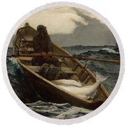 The Fog Warning .halibut Fishing Round Beach Towel