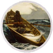 The Fog Warning Round Beach Towel by Winslow Homer