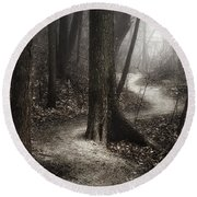 The Foggy Path Round Beach Towel