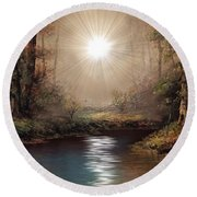 Sunrise Forest  Round Beach Towel by Michael Rucker