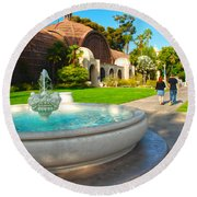 Botanical Building And Fountain At Balboa Park Round Beach Towel