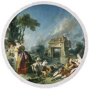 The Fountain Of Love Round Beach Towel