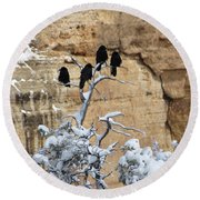 Round Beach Towel featuring the photograph The Four Crows by Laurel Powell