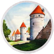 The Four Old Towers Estonia Round Beach Towel