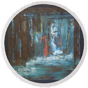 Round Beach Towel featuring the painting The Free Passage by Mini Arora
